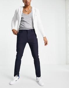 Темно-синие брюки скинни из переработанного полиэстера Topman-Темно-синий