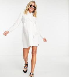 Белое хлопковое платье-рубашка мини с поясом ASOS DESIGN Maternity-Белый