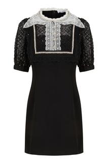 Черное платье с кружевом и кристаллами Self Portrait