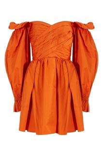 Оранжевое платье с открытыми плечами Self Portrait
