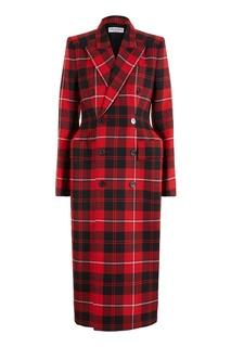 Черно-красное пальто в клетку Balenciaga