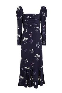 Темно-синее платье с цветочным принтом Self Portrait