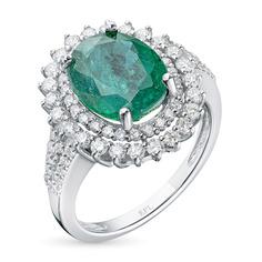 Кольцо из золота с изумрудом и бриллиантами э0938кц07210458 ЭПЛ Якутские Бриллианты