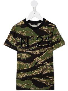 Nº21 Kids футболка с камуфляжным принтом и логотипом