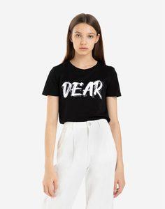 Чёрная футболка с надписью DEAR и стразами Gloria Jeans
