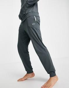 Джоггеры цвета хаки с серебристым логотипом и вышивкой BOSS Bodywear-Зеленый цвет