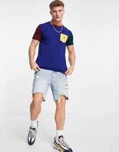 Синяя футболка в стиле колор блок с карманом с маленьким логотипом Polo Ralph Lauren-Разноцветный
