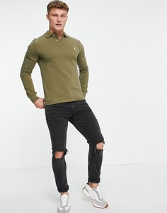 Оливково-зеленая облегающая футболка-поло из пике с длинными рукавами и логотипом Polo Ralph Lauren-Зеленый цвет