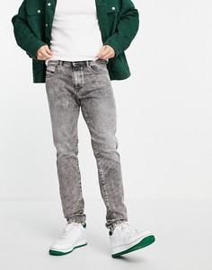 Серые выбеленные джинсы узкого кроя Diesel D-Strukt-Голубой
