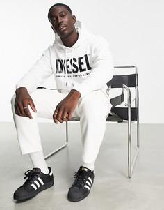 Белая худи без застежки с логотипом Diesel Gir-division-Белый