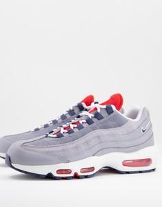 Серо-красные кроссовки Nike Air Max 95-Серый