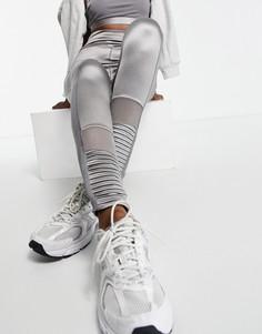 Серые леггинсы с сетчатыми вставками от комплекта River Island Active-Серый