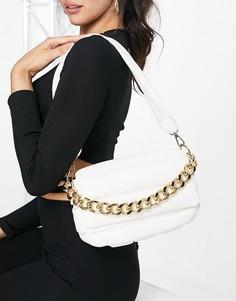 Дутая стеганая сумка на плечо белого цвета с массивной цепочкой ASOS DESIGN-Белый