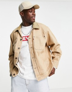 Бежевая джинсовая куртка свободного кроя с воротником из вельвета Levis Sunset-Светло-бежевый цвет