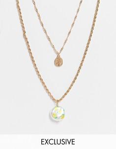 Золотистое многоярусное ожерелье с принтом лимонов на подвеске из искусственного жемчуга Reclaimed Vintage Inspired-Золотистый