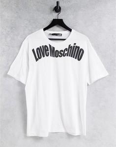 Белая футболка с волнистым логотипом Love Moschino-Белый