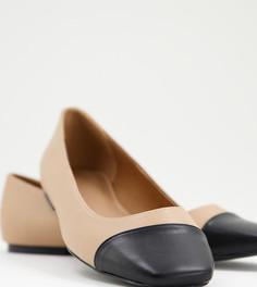 Бежевые балетки для широкой стопы с черным квадратным носком ASOS DESIGN Locket-Светло-бежевый цвет