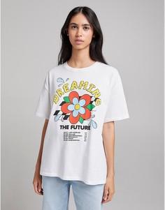 "Белая oversized-футболка с надписью ""Dreaming"" Bershka-Белый"