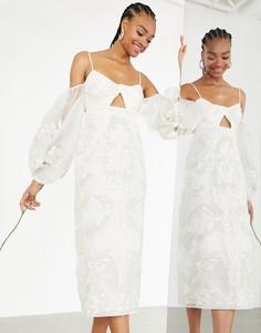 Свадебное платье с эффектными рукавами, вышивкой и перекрученным дизайном ASOS EDITION Willow-Белый