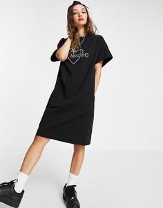 Черное платье с короткими рукавами и логотипом спереди Love Moschino-Черный цвет