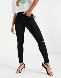 Черные зауженные джинсы со рваной отделкой Topshop Jamie-Черный цвет