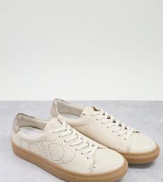 Белые кроссовки для широкой стопы из экологичной кожи на шнуровке в минималистичном стиле Dune-Белый