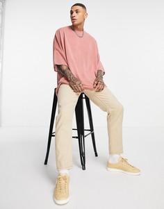 Розовая удлиненная oversized-футболка с рукавами «летучая мышь» из материала под лен ASOS DESIGN-Розовый цвет