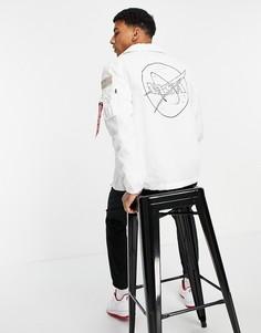 Белая спортивная куртка классического кроя из нейлона 2 оттенков с нашивкой NASA на спинке Alpha Industries-Белый