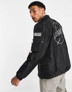 Черная спортивная куртка классического кроя из нейлона 2 оттенков с нашивкой NASA на спинке Alpha Industries-Черный цвет