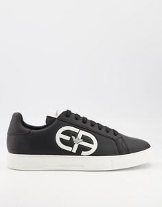 Черные кожаные кроссовки с контрастным резиновым логотипом Emporio Armani-Черный цвет