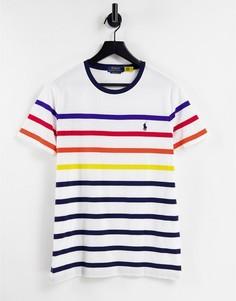 Белая футболка в разноцветную полоску с логотипом Polo Ralph Lauren-Белый