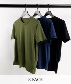 Набор из 3 футболок для дома черного, темно-синего цветов и цвета хаки Diesel-Разноцветный