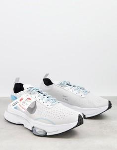 Белые кроссовки с голубыми вставками Nike Air Zoom-Type in 3M-Черный цвет