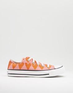 Низкие розовые кроссовки с принтом сердечек Converse Chuck Taylor-Розовый цвет