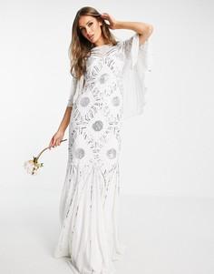 Свадебное белое платье с декоративной отделкой и рукавами кимоно Virgos Lounge-Белый