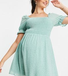 Зеленое платье мини в белый горошек с присборенным лифом для кормящих матерей In The Style Nursing x Dani Dyer-Разноцветный
