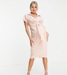 Платье миди с воротником, запахом спереди и декоративным узлом ASOS DESIGN Maternity-Розовый цвет