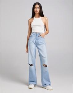 Прямые джинсы голубого винтажного цвета в стиле 90-х Bershka-Голубой
