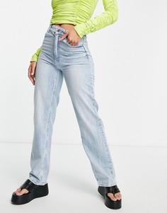 Светло-голубые прямые джинсы из переработанного хлопка Bershka-Голубой