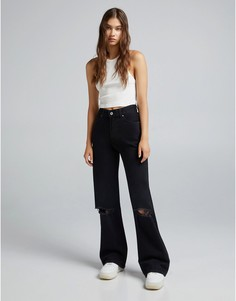 Черные прямые джинсы в стиле 90-х Bershka-Черный цвет