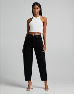 Oversized-джинсы черного цвета в винтажном стиле Bershka-Голубой