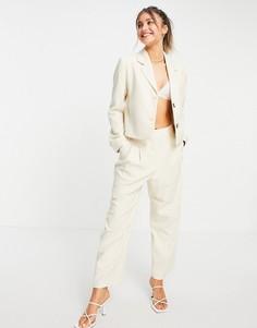 Кремовые брюки с широкими штанинами от комплекта Selected Femme-Белый