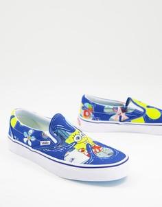 Голубые кеды-слипоны Vans X Spongebob-Голубой