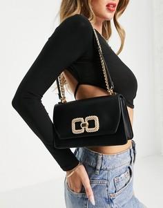 Черная сумка через плечо с золотистой фурнитурой ALDO Sevorewen-Черный цвет