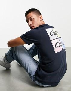 Темно-синяя футболка с принтом на спине ellesse Backdice-Темно-синий
