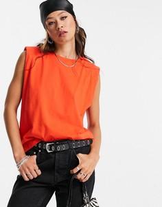 Оранжевая майка AllSaints Coni-Оранжевый цвет