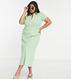 Платье-рубашка макси с окраской шенье зеленого цвета и с воротником ASOS DESIGN Curve-Зеленый цвет