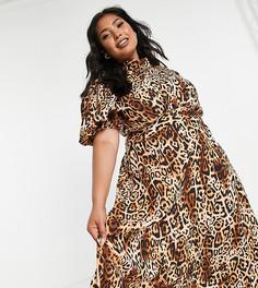 Эксклюзивное платье миди с пышными рукавами и леопардовым принтом John Zack Plus-Разноцветный