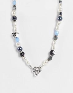 Ожерелье из разных бусин и Т-образной застежкой ASOS DESIGN-Разноцветный