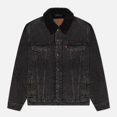 Мужская джинсовая куртка Levis Type III Sherpa Trucker, цвет серый, размер XXL